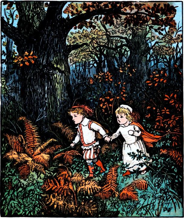 Bambini abbandonati nella foresta, illustrazione di  Randolph Caldecott