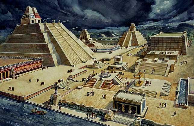 Tenochtitlan disegnata da Diego Rivera
