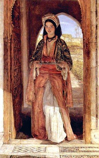 Una donna araba porta il caffè in un'opera di John Frederick Lewis