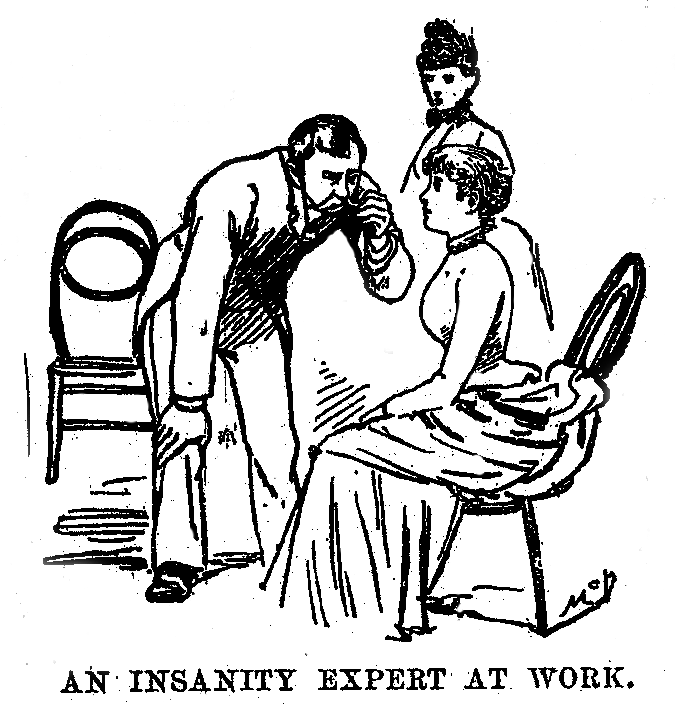 La vignetta di uno psichiatra mentre esamina la giornalista