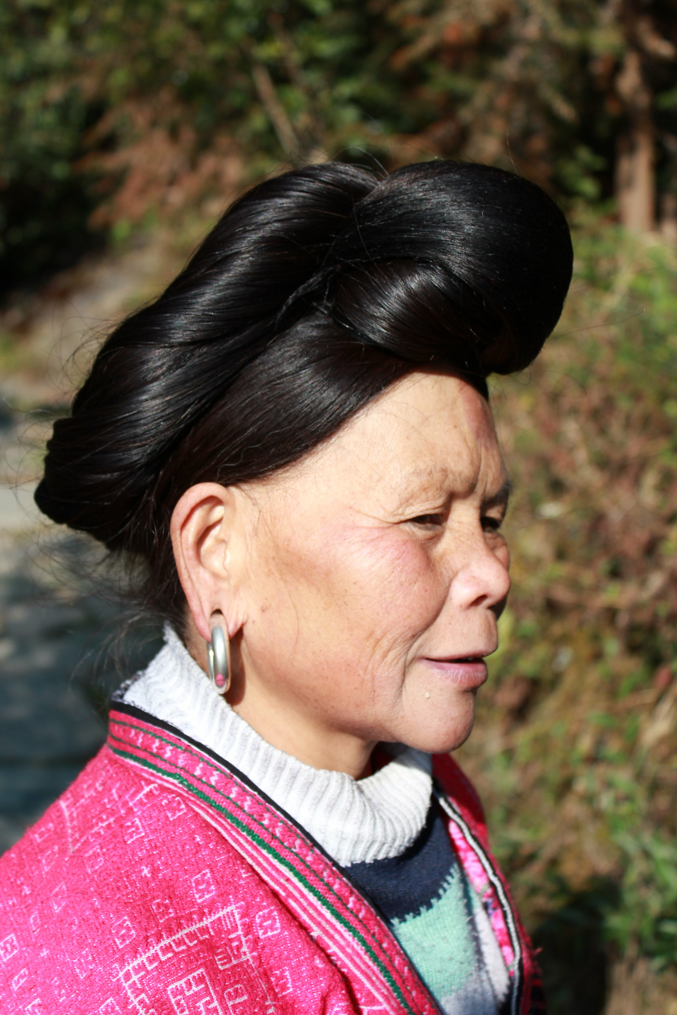 capelli delle donne della tribù cinese Red Yao