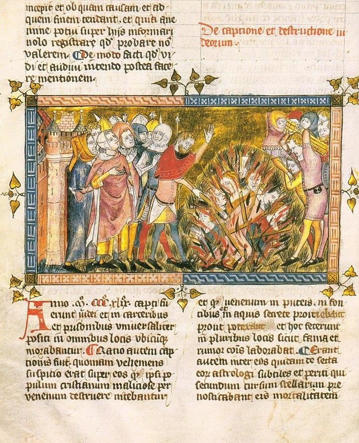Rogo di ebrei in un manoscritto di Gilles Li Muisis del XIV secolo
