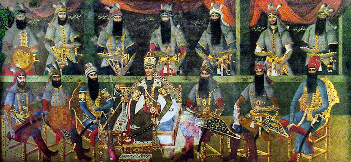 Un affresco a palazzo che rappresenta Āghā Moḥammad Khān con i suoi uomini